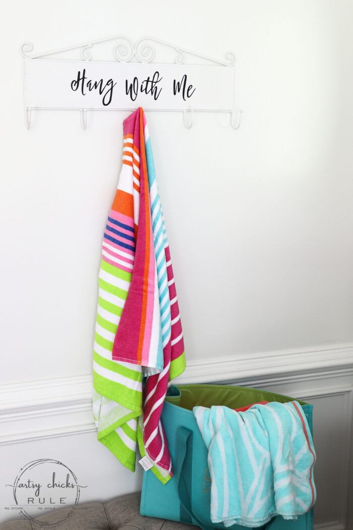 """Make this simple, fun & quirky """"Hang With Me"""" sign and hook rack out of any old thrift store find for budget friendly decor! #artsychicksrule.com #hangwithme #hookrack #diysign #hangingsign"""
