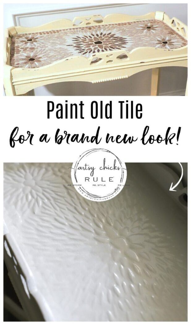 This old thrift store table had a dated tiled top! SO simply updated by painting!! The painted tiles look amazing now! artsychicksrule.com #paintedtile #paintingtiles #chalkpaintedfurniture #paintedfurniture #whitefurniture