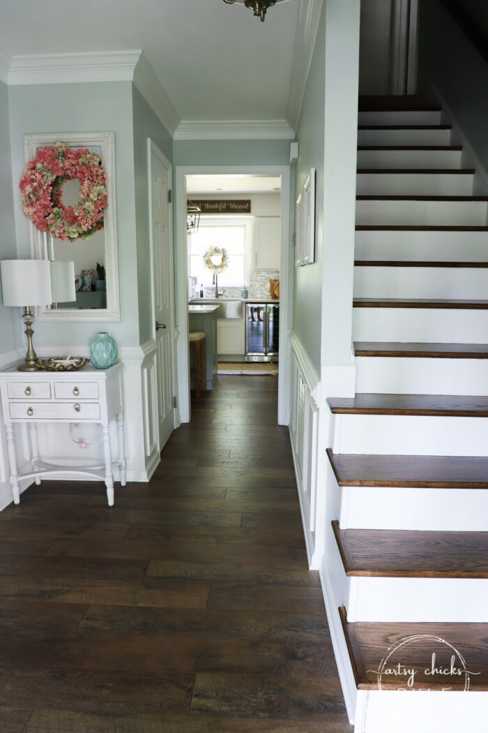 Our home tour showing off tons of DIY and loads of budget friendly decor! Thrifty makeovers, furniture finds and more! artsychicksrule.com #hometour #coastalhome #coastalhomeideas #coastalstyle #fauxshiplap #woodcountertop #furnituremakeovers