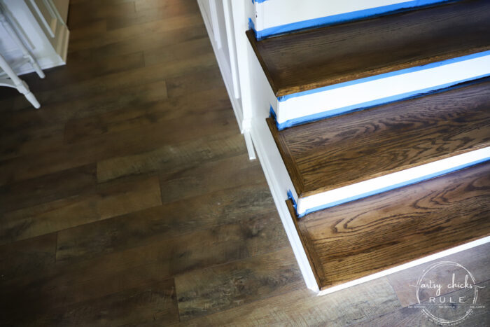 Update Stairs with Gel Stain (SO EASY...believe it!) artsychicksrule.com #gelstain #updatestairs #gelstainprojects #staircaseideas