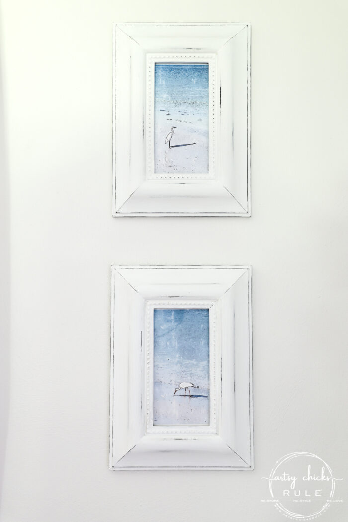 Thrifty Coastal Wall Decor the BUDGET FRIENDLY way! Find old prints at the thrift store (or reuse what you have) and give them new life! artsychicksrule.com #thriftydecor #diyprints #diyhomedecor #coastalwallart #coastalprints