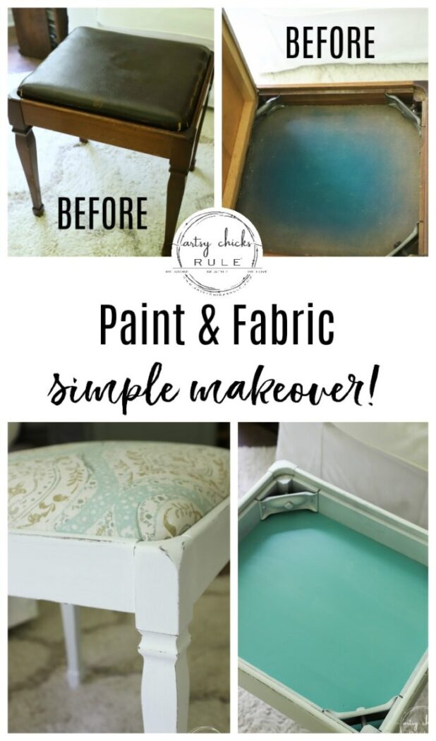 Vintage Footstool Makeover - with FABRIC and PAINT!! So simple! artsychicksrule.com #footstool #furnituremakeover #footrest