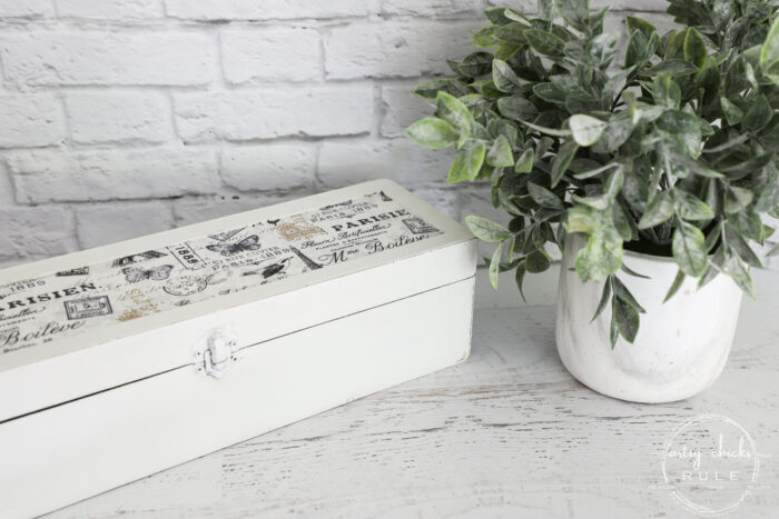 white wine box with French fabric