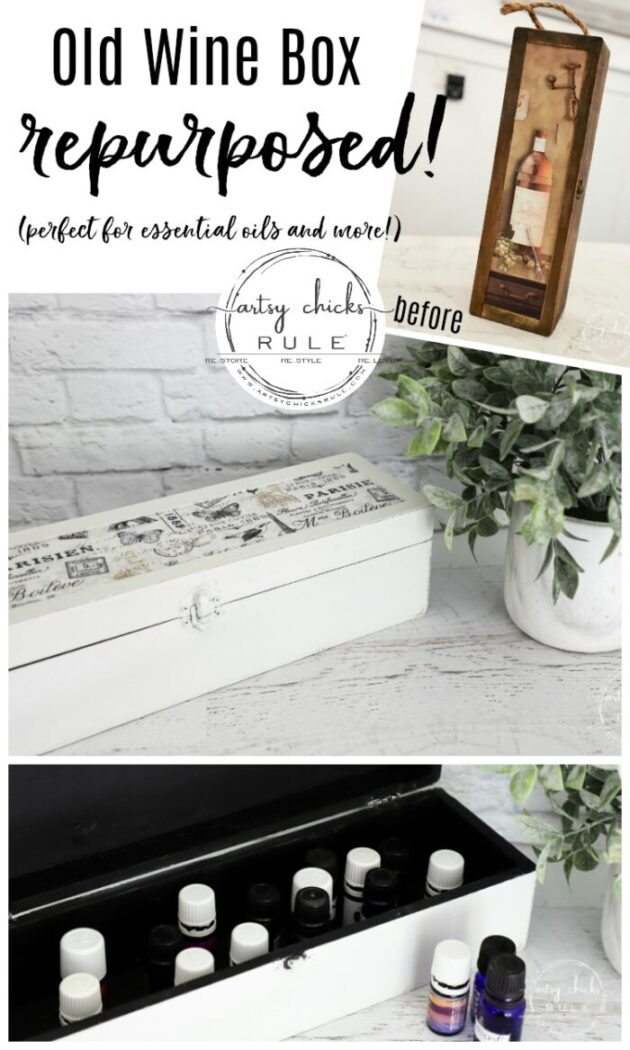 Wine Box Repurposed! Can Use This For So Many Things...or the Perfect Gift! artsychicksrule.com #repurposed #winebox #repurposedideas #thriftstoremakeover