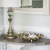 Coastal Style Half Moon Table (faux weathered wood finish)