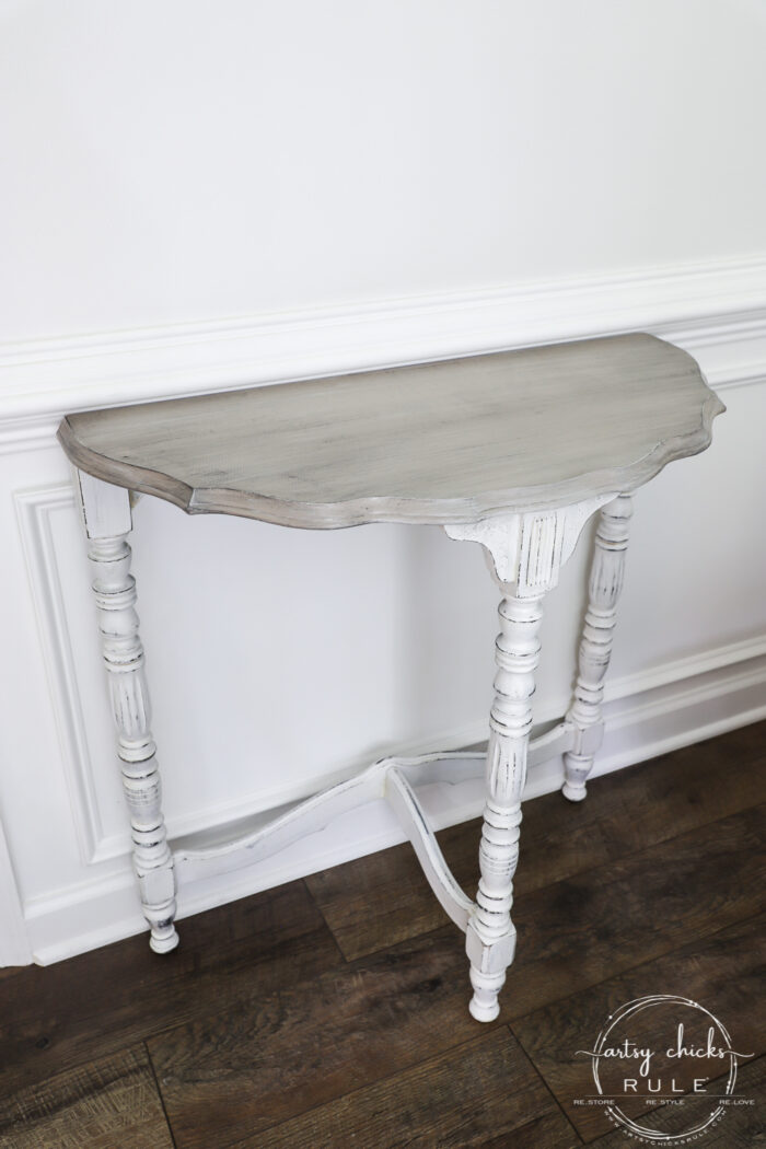 $15 Thrift Store Half Moon Table - Got the makeover it deserved with paint! A gorgeous weathered wood finish, coastal style. (or farmhouse!) artsychicksrule.com #farmhousestyle #coastalstyle #weatheredwood #fauxweatheredwood #halfmoontable