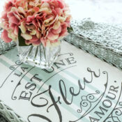 French Basket Tray (thrifty makeover with Prima Transfers)