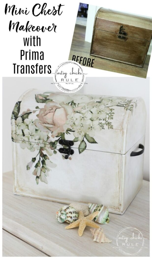 Mini Treasure Chest Makeover with Prima Transfers artsychicksrule.com #primatransfers #primaredesign #primamarketing #minitreasurechest