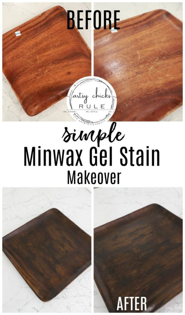 Minwax Gel Stain gave this old wood tray a BRAND new look! SIMPLY!!! artsychicksrule.com #minwaxgelstain #gelstain #woodprojects #thriftstoremakeover