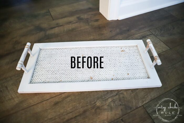 This super cute thrift store tray makeover with gorgeous mosaic tile and gold paint was a really simple project! Let me show you how you can do one too! artsychicksrule.com #tiledtray #traymakeover #tiledprojects #howtotile #mosaictile