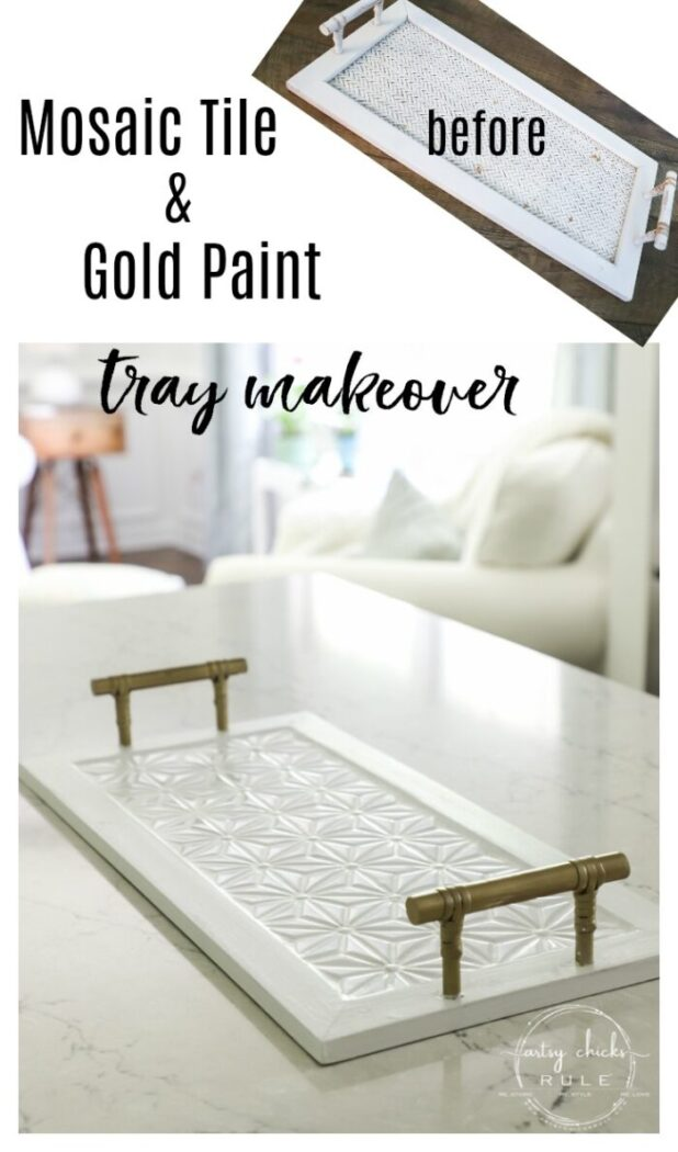 This super cute thrift store tray makeover with gorgeous mosaic tile and gold paint was a really simple project! Let me show you how you can do one too!