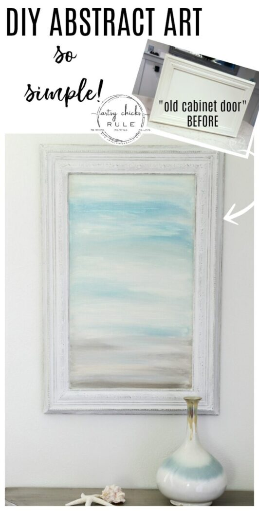 Creating your own DIY abstract art is fun! I did this one in 15 minutes time on an old kitchen cabinet door! (and you can do it too!!) artsychicksrule.com #abstractart #diyart #wallart #beachart #diybeachart #diywalldecor