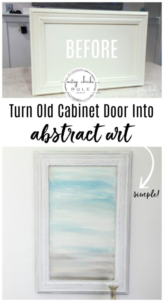 Creating your own DIY abstract art is fun! I did this one in 15 minutes time on an old kitchen cabinet door! (and you can do it too!!)