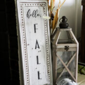 Hello Fall Sign (thrift store makeover and free printable!)