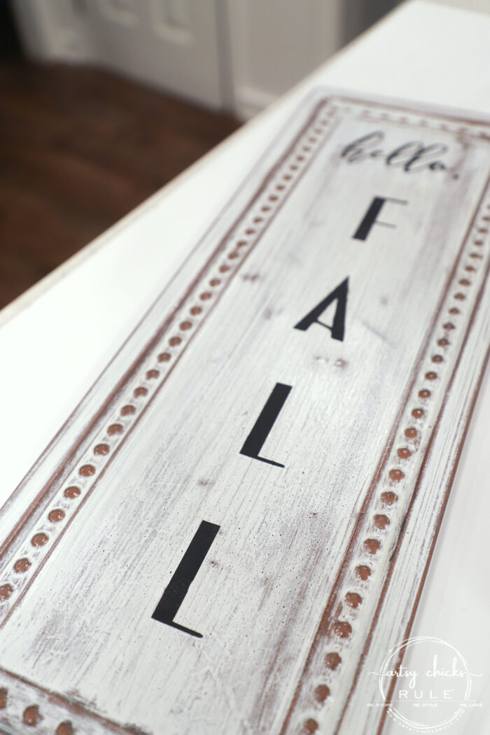 "This old metal thrift store sign was the perfect thing to create my ""hello fall sign"" with! Cheap fall decor, the best kind! artsychicksrule.com #falldecor #fallsign #hellofallsign #falldecorideas #fallideas"