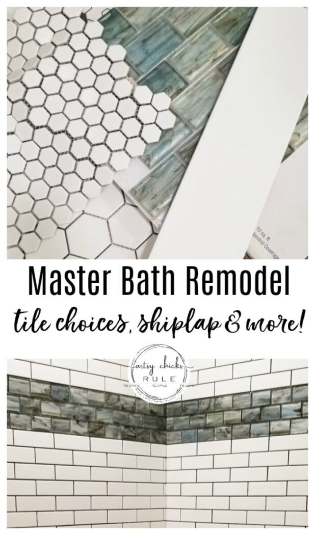 "Our master bathroom remodel is underway! Tile choices (that ""water"" look tile is the bomb!), shiplap, new windows and more! artsychicksrule.com #coastalbathideas #subwaytile #bathroommakeover #bathroomremodel"