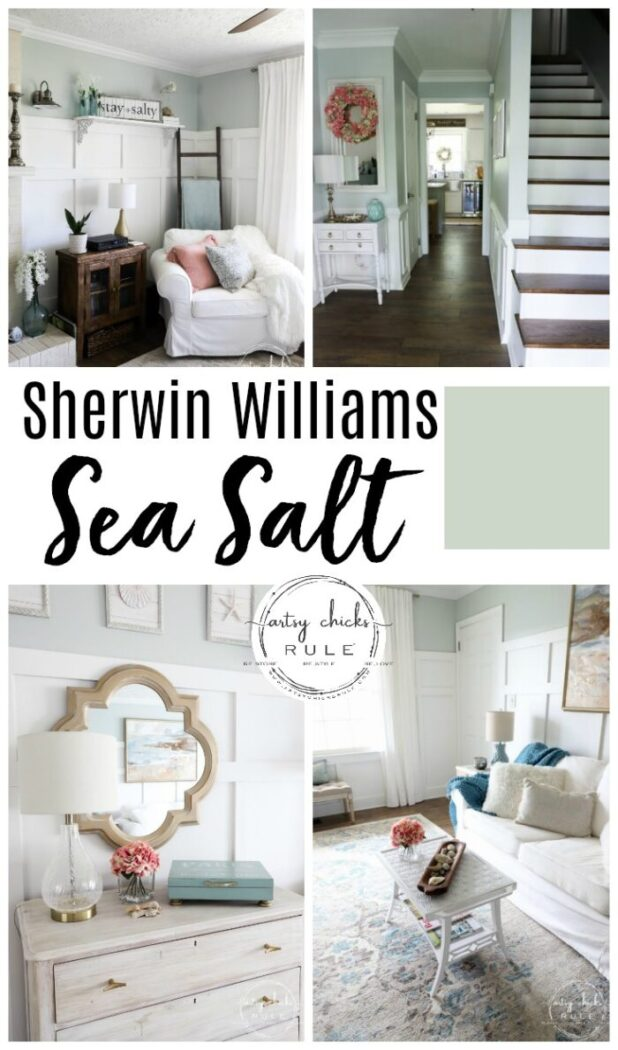 Sherwin Williams SEA SALT - The perfect NEUTRAL color! artsychicksrule.com #seasalt #sherwinwilliamsseasalt #bestcoastalpaintcolor #bluepaint #coastalpaintcolors