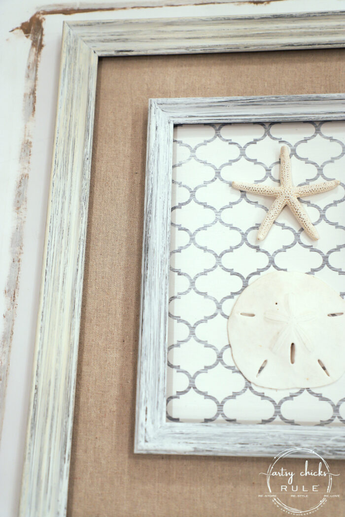 Shelf liner paper, paint and a few sea finds are all you need to transform a simple thrift store find into beautiful new starfish wall decor! artsychicksrule.com #starfishwalldecor #coastalwallart #coastaldecor #coastalhome