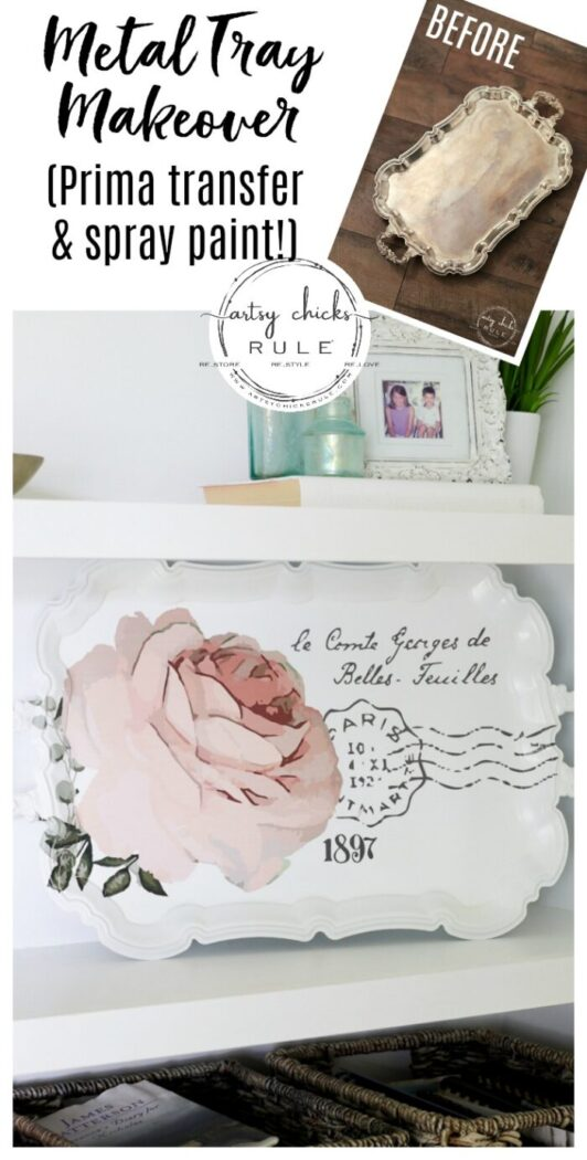 This pretty French rose decal was the perfect addition to this old metal thrift store tray! artsychicksrule.com #primatransfers #redesignwithprima #rosedecal #frenchstyle #frenchdecor #traymakeover