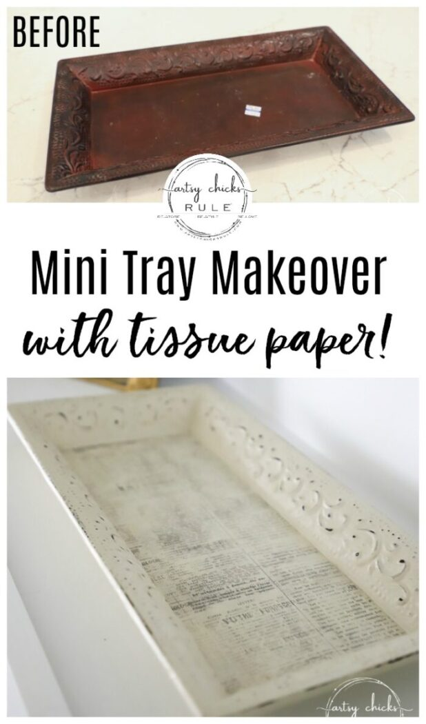 This mini tray makeover was SIMPLE with paint and tissue paper! artsychicksrule.com #minitray #traymakeover #tissuepaperprojects #tissuepapermakeover