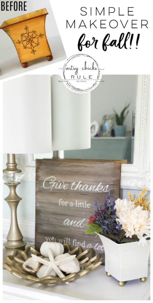 Floral Arrangements For Fall - Thrift Store Makeover!! Budget-Friendly Fall Decor artsychicksrule.com #falldecor #fallcrafts #fallhome #fallflorals #fallmakeover