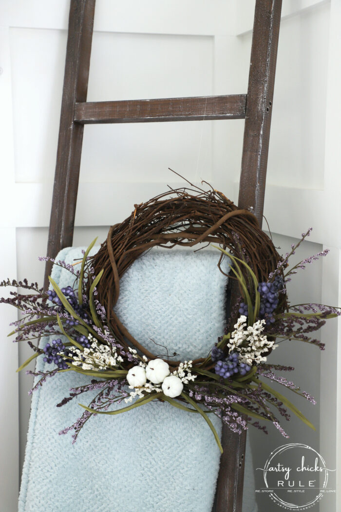 Purple & White Pumpkin Wreath!! Perfect Way To EASE Into Fall! artsychicksrule.com #purplefallwreath #whitepumpkinwreath #falldecor #fallideas