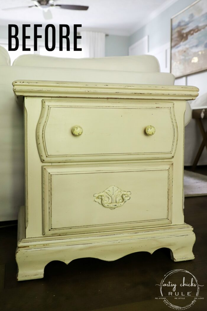 French Style Nightstand Makeover with Transfer! artsychicksrule.com #primatransfers #nightstandmakeover