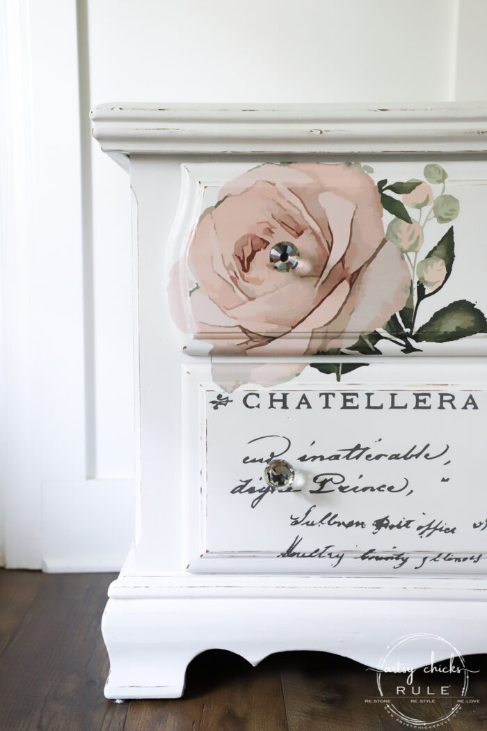 white nightstand pink rose graphic