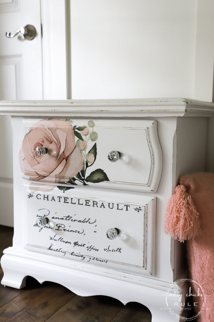 French Style Nightstand -SIMPLE with Prima Transfers!! artsychicksrule.com #frenchstyle #frenchdecor #primatransfers #redesignwithprima #pinkrosetransfer #frenchnightstand
