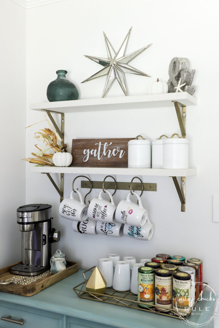 Galvanized Metal Gather Sign - Made out of scrap wood and a dollar store find!! SIMPLE!! artsychicksrule.com #metalgathersign #galvanizedgather #falldecor #fallsigns