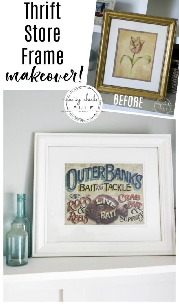 Picture Frame Makeover From Old Thrift Store Print (OBX Print Sign) SO SIMPLE!! artsychicksrule.com #thriftstoremakeovers #oldframeideas #obxsign