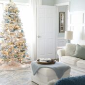 Blue and Gold Christmas Decor (family room)