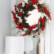 Dollar Store DIY Red Berry Wreath