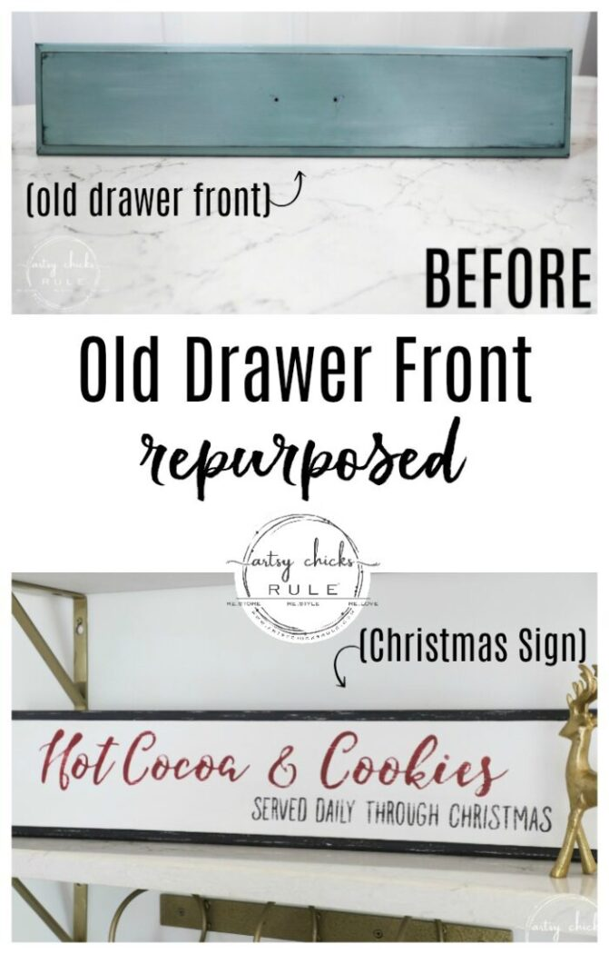 This old repurposed drawer front was the perfect size for my Hot Cocoa & Cookies Christmas Sign. Get the free printable so you can make one too! artsychicksrule.com #christmassign #christmasdecor #repurposeddrawerfront #hotcocoaandcookies