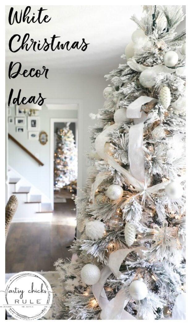 White Christmas Decor Ideas Dining Room Foyer Artsy Chicks Rule