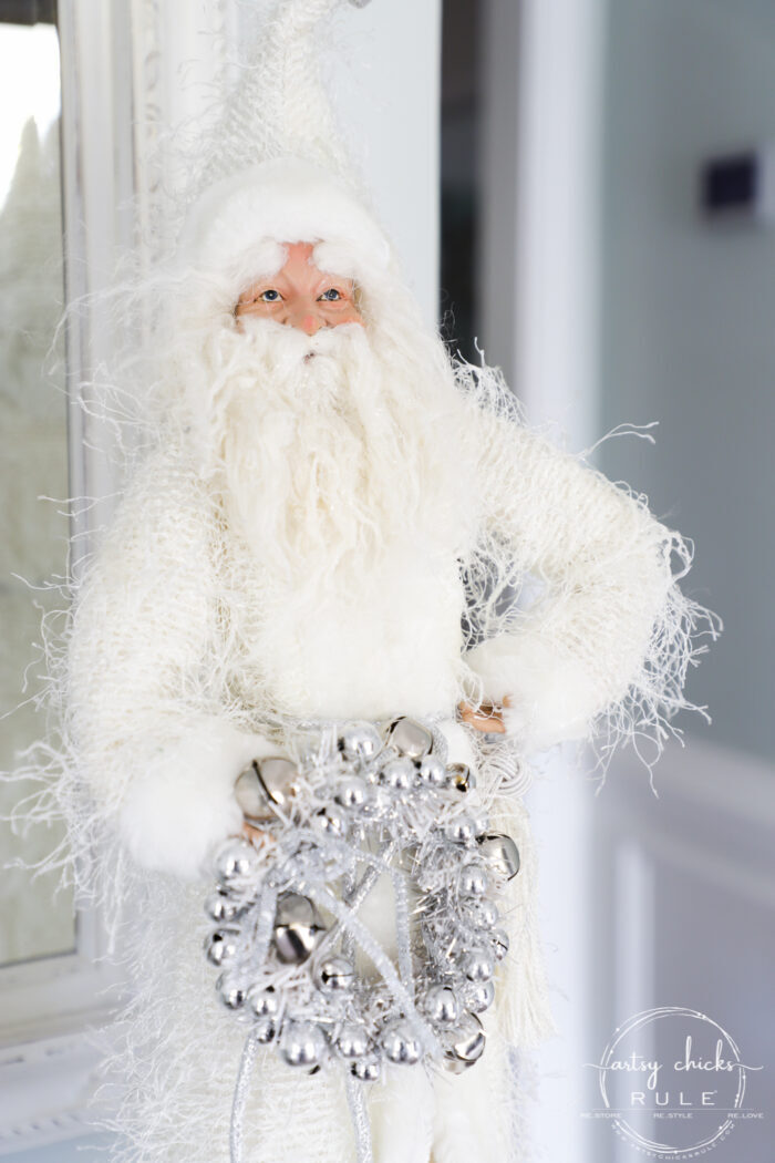 White Christmas Decor Ideas - make for a magical Christmas! I'm sharing our foyer and dining rooms all decked out in white! artsychicksrule.com #whitechristmas #whitechristmasdecor #whitedecorideas