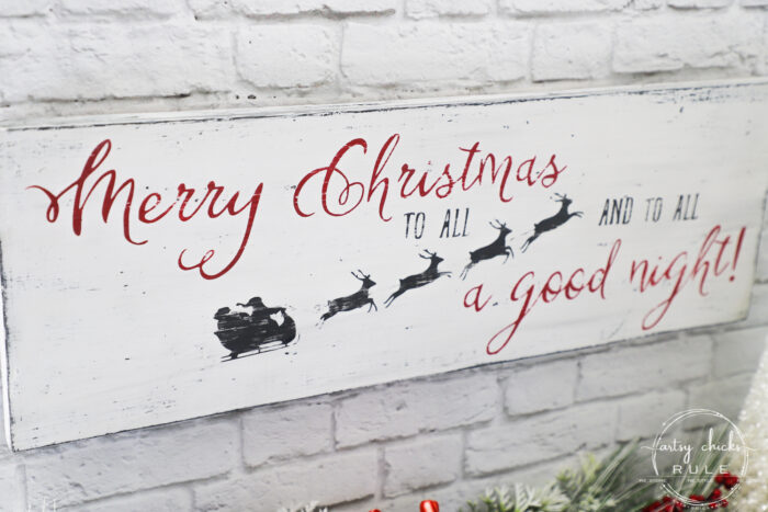 Merry Christmas To All...and to all a good night! Easy sign made out of scrap wood plus FREE printable! artsychicksrule.com #christmassign #merrychristmastoall #Santasleigh