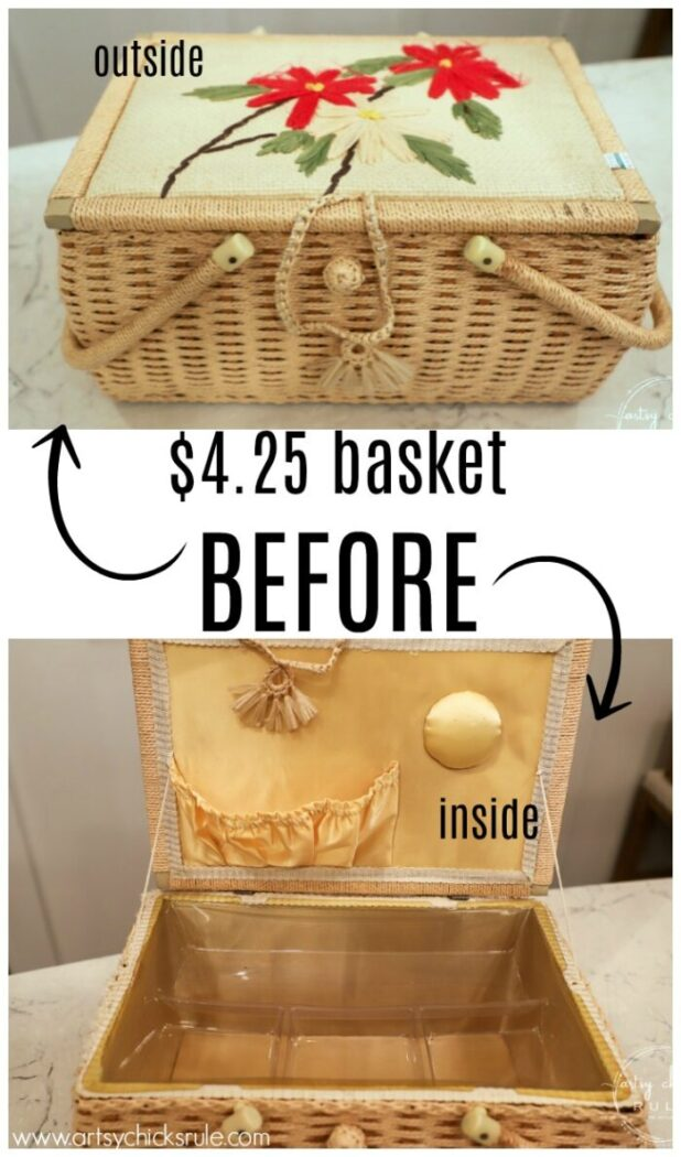 Don't pass up those old baskets at the thrift store! Bring em home and give em a basket makeover they are worthy of! Old is new again! artsychicksrule.com #basketmakeover #oldbasketideas #basketideas #frenchdecor