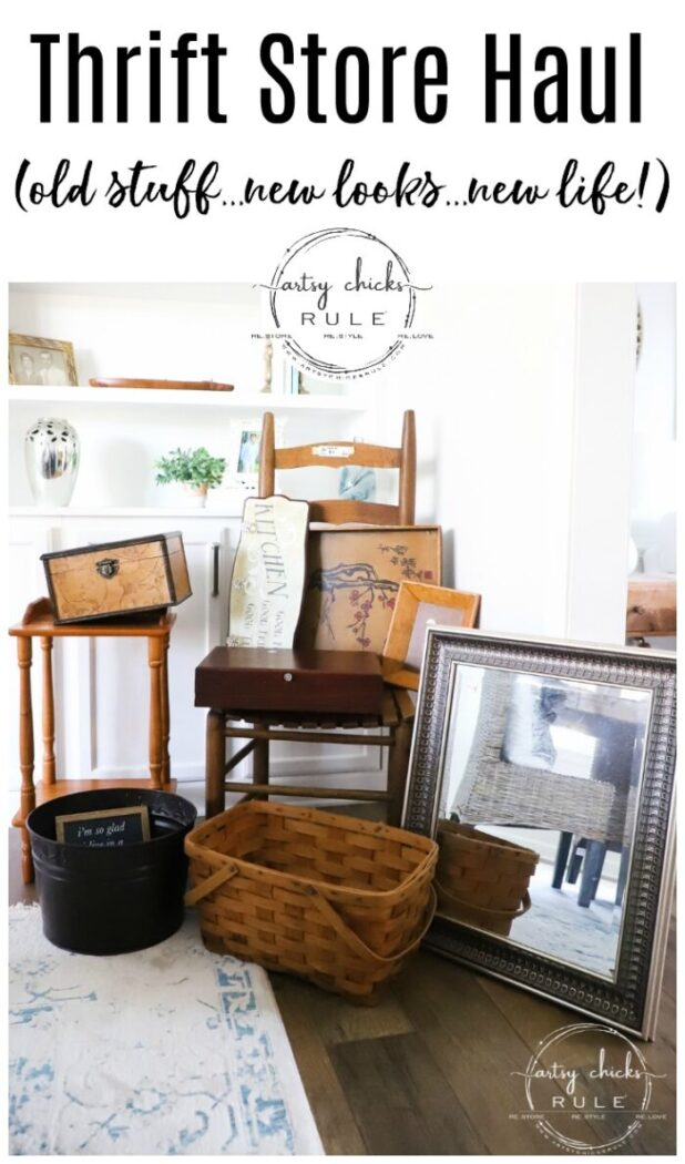 Fun finds, furniture and things I came across (and brought home!) from my latest thrift shopping outing! artsychicksrule.com #thriftstorefinds #thriftstoremakeovers #thriftymakeovers