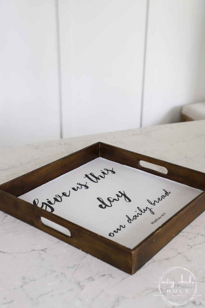 "Old tray repurposed! This $3 ""Give Us This Day Our Daily Bread Sign""/tray got a brand new look and life. artsychicksrule.com #repurposedfind #giveusthisday #biblequote #trayrepurposed"