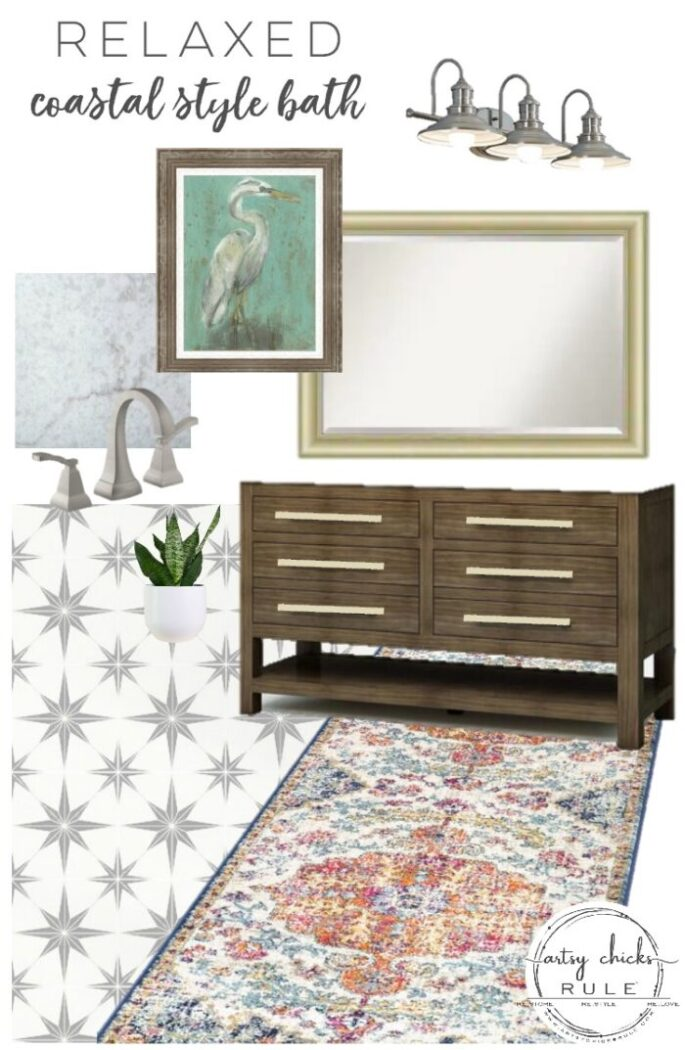 Sharing this hall bathroom mood board with a relaxed coastal design style. Rug, decor, sink cabinet and more! artsychicksrule.com #moodboard #bathmoodboard #bathdesignstyle #coastalstyle #relaxedcoastal