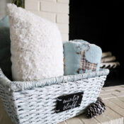$4 Winter Basket Makeover (pillow holder, cozy throw keeper or gift idea!)