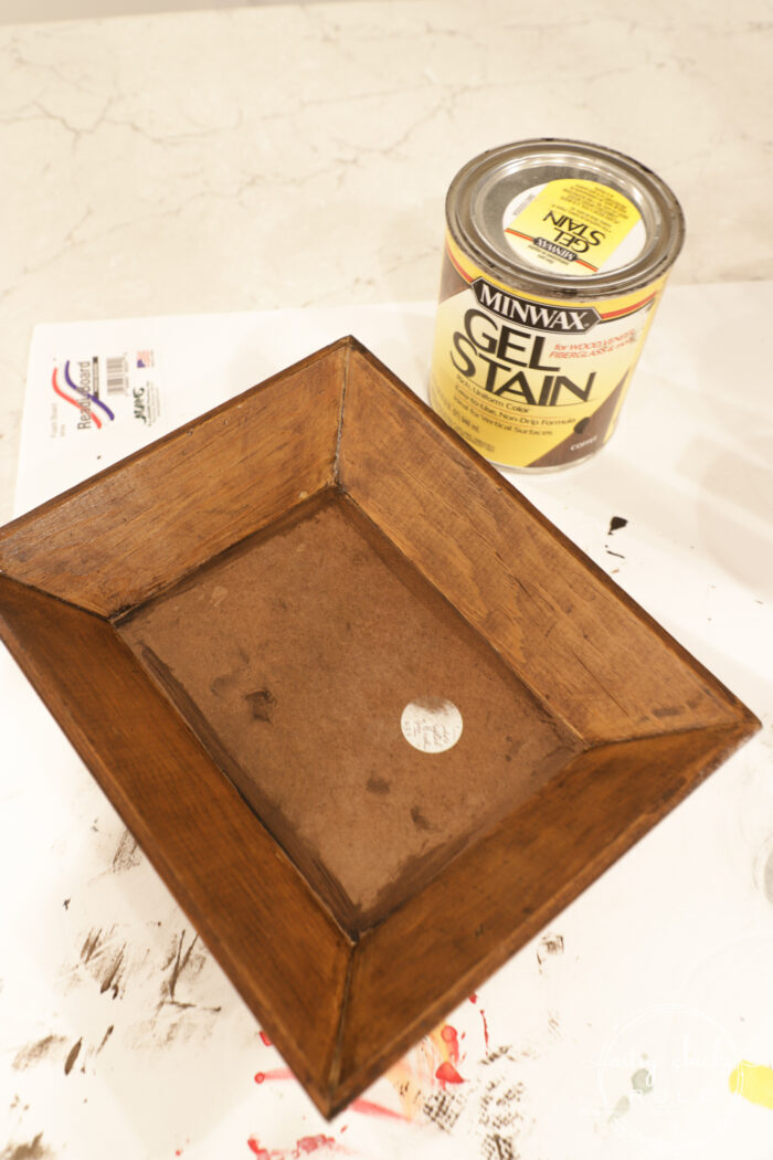 This $3 wood bowl makeover was simple to do with paint and tile (easier than you think!) artsychicksrule.com #woodbowlmakeover #tileprojects #tiledmakeovers