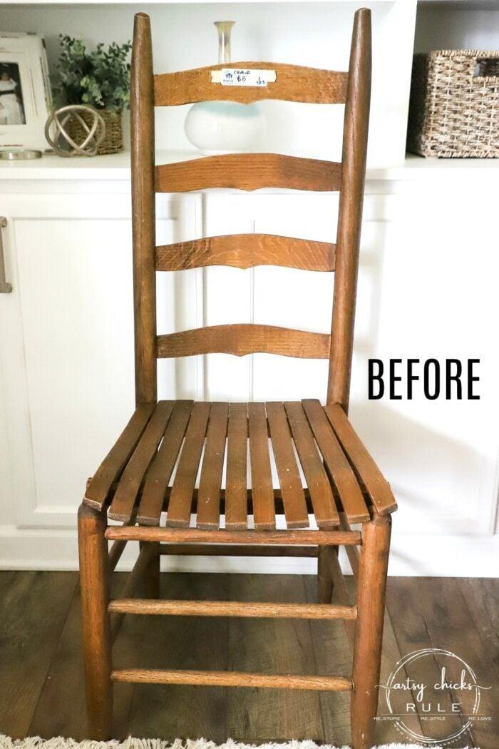 $8 ladder back chair makeover artsychicksrule.com
