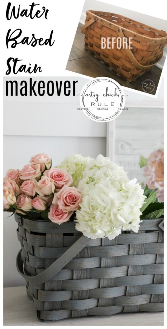 Water based stain is so simple to use. It's a no brainer for things like this old, orangey basket makeover for spring. artsychicksrule.com #waterbasedstain #basketmakeover #springbasket