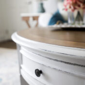Coastal Style Coffee Table Makeover (with stain and paint!)
