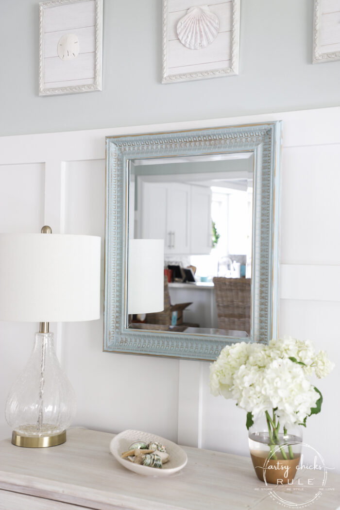 It's SO simple to add the look of gold patina to just about anything with these two things!!! This $6 thrift store mirror got a brand new look! artsychicksrule.com #goldpatina #patinafinish #mirrormakeover