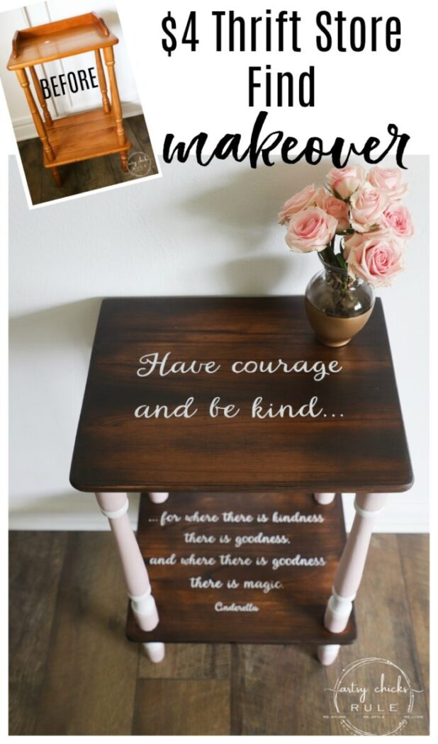 Outdated and orange no more! Java stain, pink paint and the sweetest quote ever! (FREE printable!) artsychicksrule.com #freeprintable #havecourageandbekind #cinderella #childrensfurniture