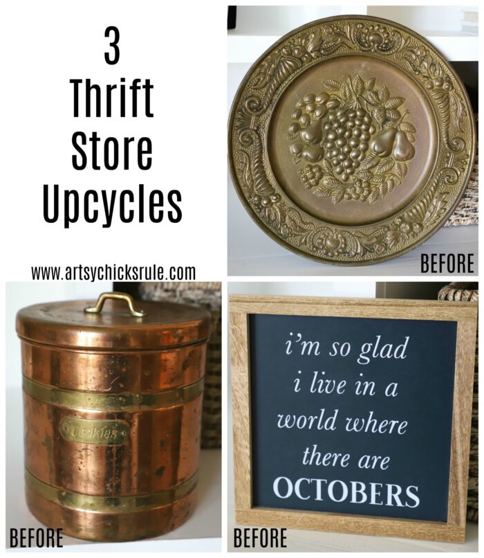 3 Thrifty Upcycles! Super simple and so refreshed! Budget friendly decorating artsychicksrule.com #thriftstoreupcycle #upcycle #repurposed