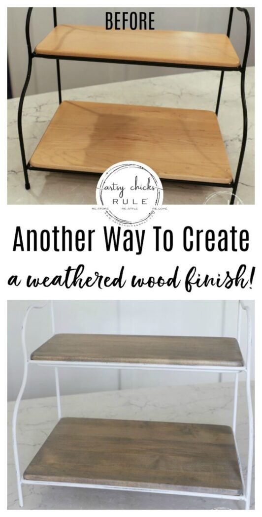 Another simple way to create the look of a weathered wood finish! There are multiple ways, as I talk about on the blog, this is just one of them! artsychicksrule.com #weatheredwoodfinish #weatheredwood #howtoweatherwood
